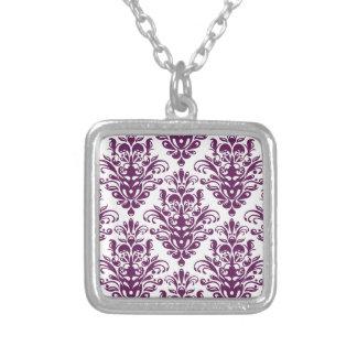 Heißes lila und weißes elegantes Damast-Muster Versilberte Kette