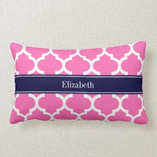 Heißes Pink2 weißes Marine-Blau-Namen-Monogramm Lendenkissen