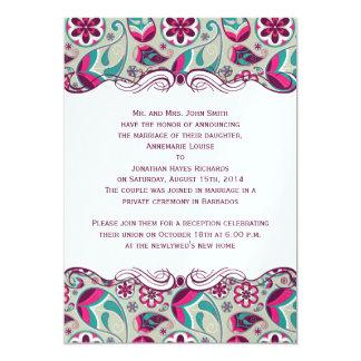 Heißes Rosa-aquamarine Paisley-Posten-Hochzeit 12,7 X 17,8 Cm Einladungskarte
