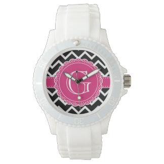 Heißes Rosa-Blumen-Monogramm-Schwarzes Zickzack Armbanduhr