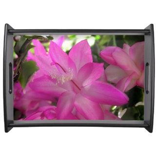Heißes Rosa-Blumen Serviertablett