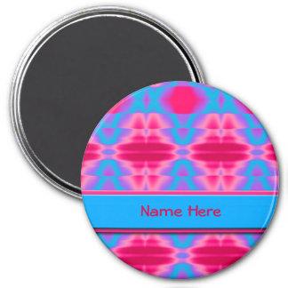 Heißes Rosa-cooles blaues abstraktes Runder Magnet 7,6 Cm