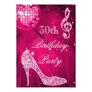 Heißes Rosa-Disco-Ball-Schein-Heels-30. Geburtstag 12,7 X 17,8 Cm Einladungskarte