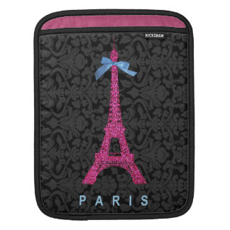 Heißes Rosa-Eiffel-Turm im Imitat-Glitter iPad Sleeves