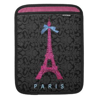 Heißes Rosa-Eiffel-Turm im Imitat-Glitter Sleeve Für iPads