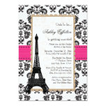 Heißes Rosa-Eiffel-Turm-Pariser Brautparty 12,7 X 17,8 Cm Einladungskarte