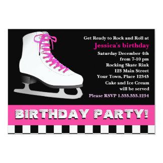 Heißes Rosa-Eis-Skaten-Geburtstags-Party 12,7 X 17,8 Cm Einladungskarte