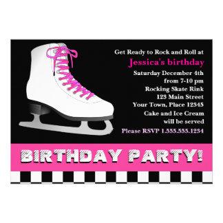 Heißes Rosa-Eis-Skaten-Geburtstags-Party Individuelle Ankündigung