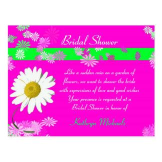 Heißes Rosa-Gänseblümchen-Brautparty-Postkarte Postkarte