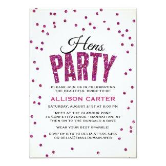 Heißes Rosa-Glitter-Blickconfetti-Henne-Party 12,7 X 17,8 Cm Einladungskarte