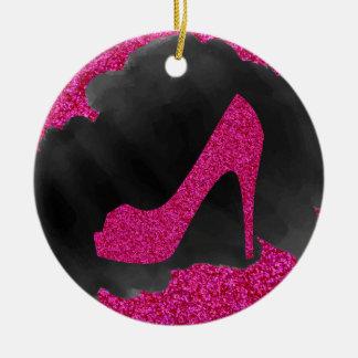 Heißes Rosa-Glitter-hoher Heels-schwarze Tinte Keramik Ornament