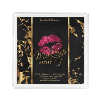 Heißes Rosa-Glitter-Lippen - Make-upbehälter Acryl Tablett