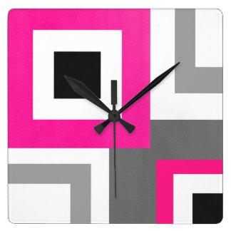 Heißes Rosa-graue Schwarz-weiße geometrische Quadratische Wanduhr