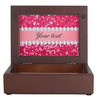 Heißes Rosa-großer Imitat-Glitter mit Diamanten Erinnerungsdose