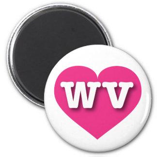 Heißes Rosa-Herz West Virginia - große Liebe Runder Magnet 5,1 Cm