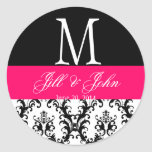 Heißes Rosa-Hochzeits-Monogramm-Datums-Damast-Sieg Sticker