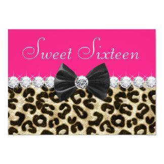 Heißes Rosa-Leopard-16. Geburtstag-Party 12,7 X 17,8 Cm Einladungskarte