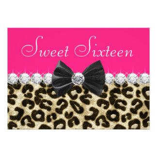 Heißes Rosa-Leopard-16 Geburtstag-Party Individuelle Einladung