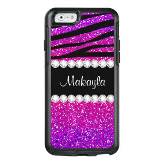 Heißes Rosa-lila Glitter-SchwarzesZebra iPhone 6 OtterBox iPhone 6/6s Hülle
