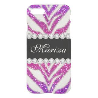Heißes Rosa-lila GlitterGirly schwarzer Zebra iPhone 7 Hülle
