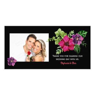 Heißes Rosa-lila grüne Blumenhochzeit danken Ihnen Karte