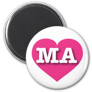 Heißes Rosa Massachusetts - große Liebe Runder Magnet 5,1 Cm