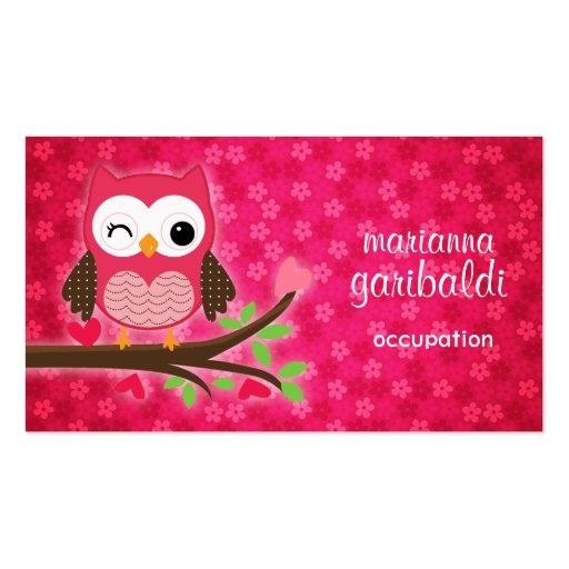 Heißes Rosa-niedliche Eule Girly Visitenkarten Vorlage
