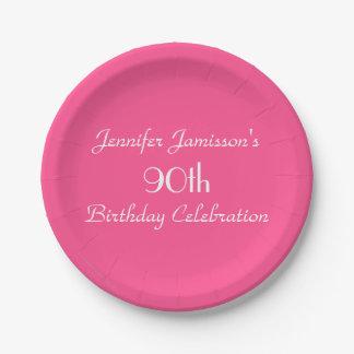 Heißes Rosa-Papier-Teller, 90. Geburtstags-Party Pappteller