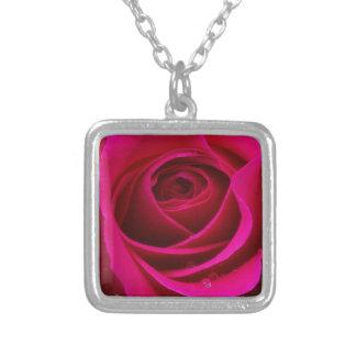 Heißes Rosa-Rose Versilberte Kette