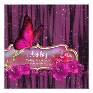 Heißes Rosa-Schmetterlings-Abschluss-Mitteilungen Individuelle Ankündigungskarte