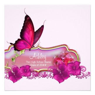 Heißes Rosa-Schmetterlings-Abschluss-Mitteilungen Individuelle Einladungskarten