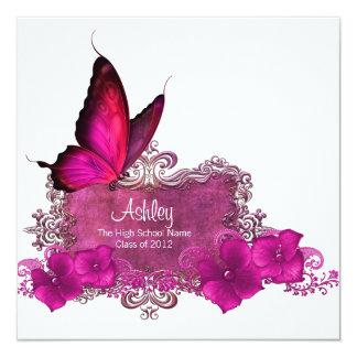 Heißes Rosa-Schmetterlings-Abschluss-Mitteilungen Quadratische 13,3 Cm Einladungskarte