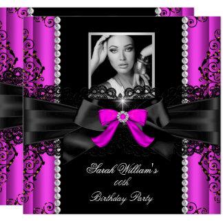 Heißes Rosa-Schwarz-Spitze-Foto-Geburtstags-Party Karte