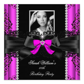 Heißes Rosa-Schwarz-Spitze-Foto-Geburtstags-Party Quadratische 13,3 Cm Einladungskarte