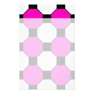 Heißes Rosa-Schwarz-weißes Quadrat-Hexagon-Muster Personalisiertes Büropapier