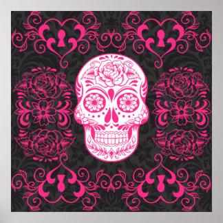 Heißes Rosa-Schwarz-Zuckerschädel-Rosengotischer G Poster