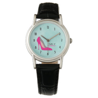 Heißes Rosa-Stilett-hohe Fersen-SchuhChic Uhr