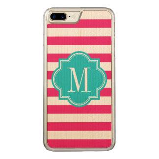 Heißes Rosa-Streifen mit aquamarinem Monogramm Carved iPhone 8 Plus/7 Plus Hülle