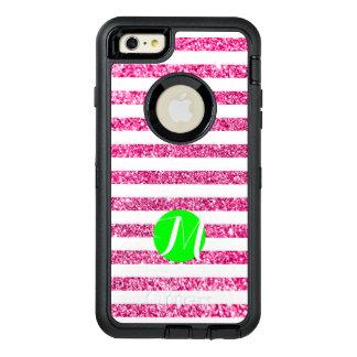 Heißes Rosa-Streifen mit Limonem Monogramm OtterBox iPhone 6/6s Plus Hülle