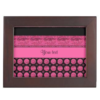 Heißes Rosa-Streifen und Glitter-Stellen Erinnerungsdose