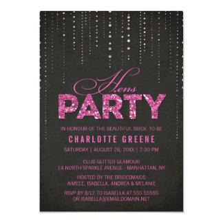 Heißes Rosa-u. Schwarz-Glitter-Blick-Henne-Party 12,7 X 17,8 Cm Einladungskarte