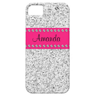 Heißes Rosa-u. Silber-Glitter BLING iPhone 5 Fall Barely There iPhone 5 Hülle