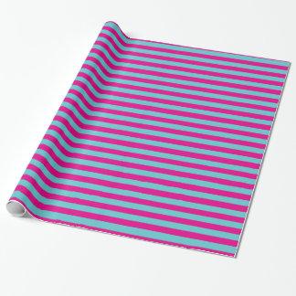 Heißes Rosa und aquamarine Streifen Geschenkpapier