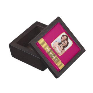 Heißes Rosa und Gold personalisiert Schachtel