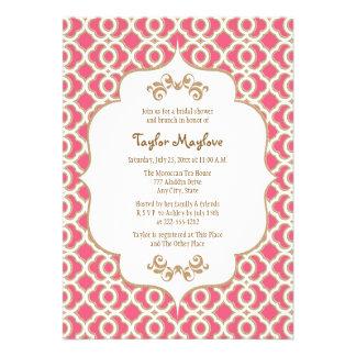 Heißes Rosa und Goldmarokkanisches Brautparty lädt Individuelle Einladung