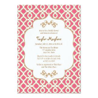 Heißes Rosa und Goldmarokkanisches Brautparty lädt 12,7 X 17,8 Cm Einladungskarte