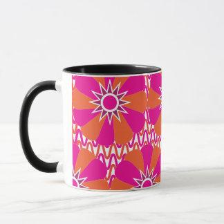 Heißes Rosa und orange helles Blumen-Muster Tasse
