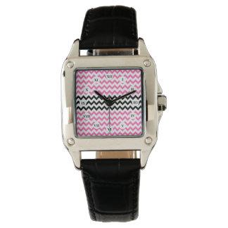 Heißes Rosa und schwarzes Zickzack durch Shirley Armbanduhr