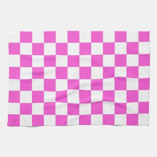 Heißes Rosa-und Weiß-Schachbrett-Muster Küchentuch