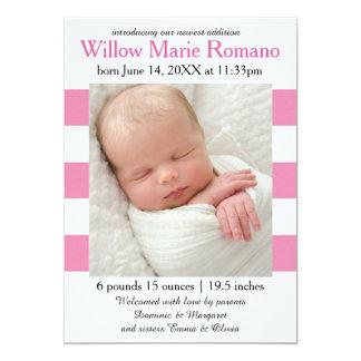 Heißes Rosa/Weiß Stripes Foto - Geburts-Mitteilung 12,7 X 17,8 Cm Einladungskarte